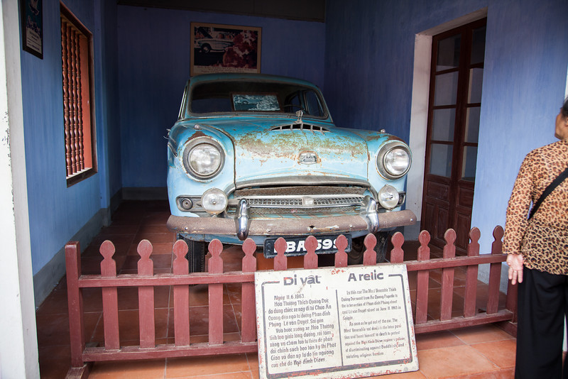 Just behind the main sanctuary at Thien Mu Pagoda is Thich Quang Duc's Austin motorcar that took him to Saigon where he publicly burned himself to death. The photograph that made this event famous hangs behind the car.
