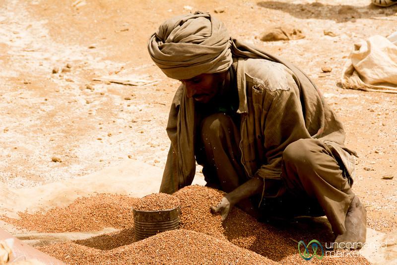 Piling Up Sorghum at Weekly Ethiopian Market