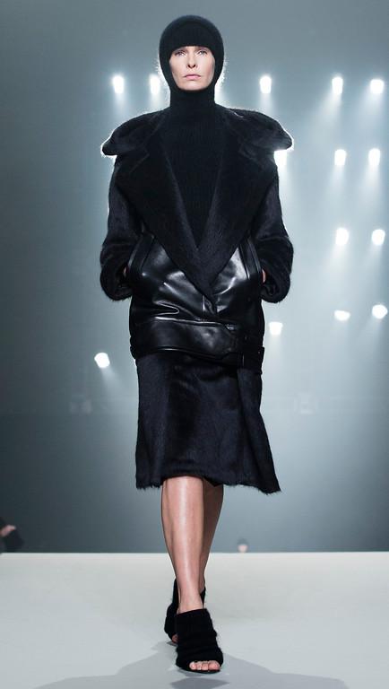 . A model walks the runway during the Alexander Wang Fall 2013 fashion show during Fashion Week, Saturday, Feb. 9, 2013, in New York. (AP Photo/John Minchillo)