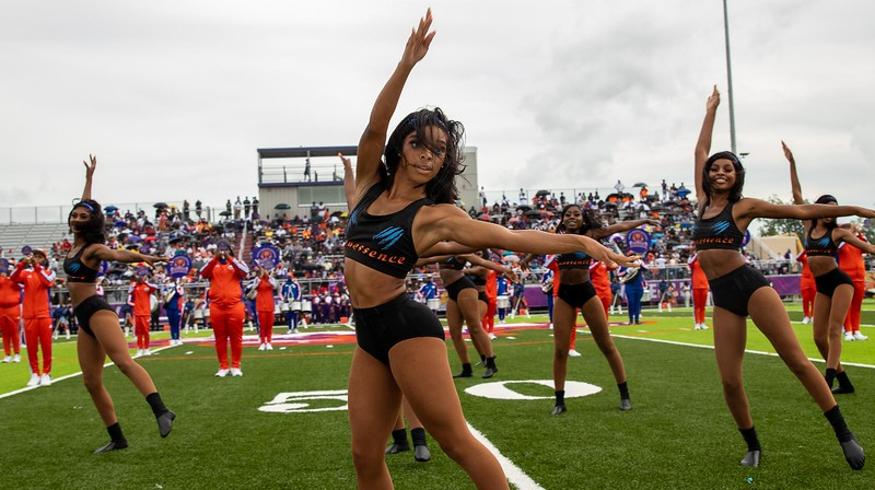 Members of the Florida Memorial University Lionessence perform during halftime of an Aug. 28, 2021 football game in Jacksonville against Edward Waters University. (Photo by Will Brown)