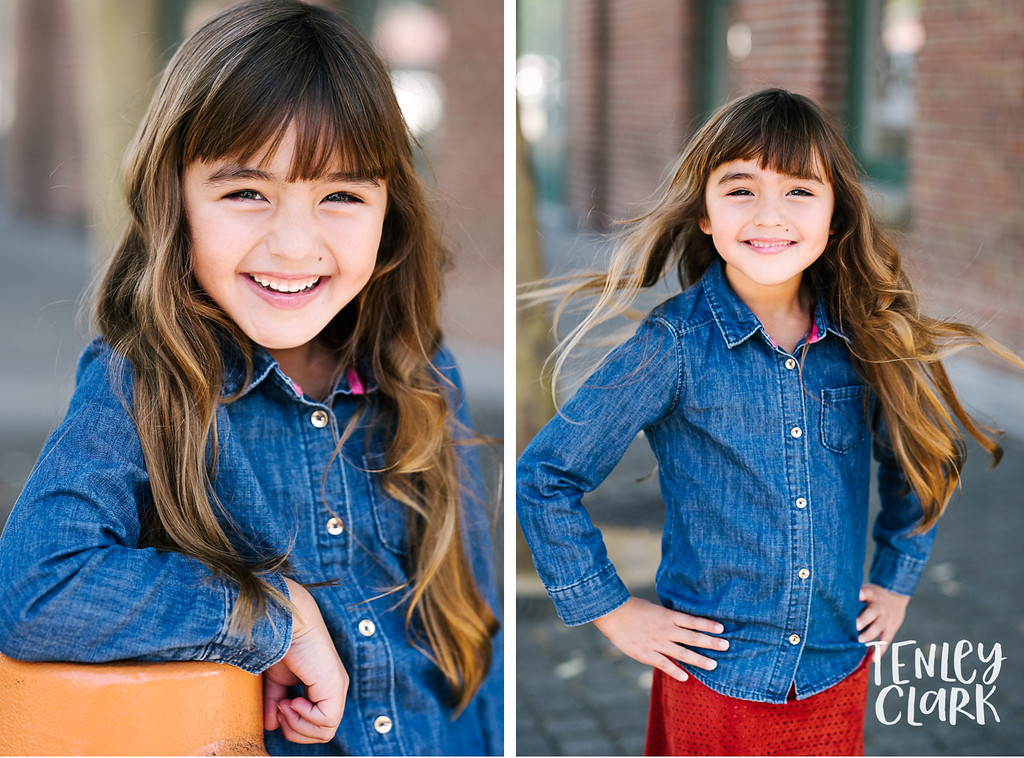 Downtown Pleasanton, CA kids model headshots for JE Model by Tenley Clark Photography.