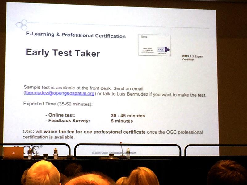 OGC 組織除了進行軟體符合標準認證外,亦嚐試執行工程師於標準專業技能認證.JPG