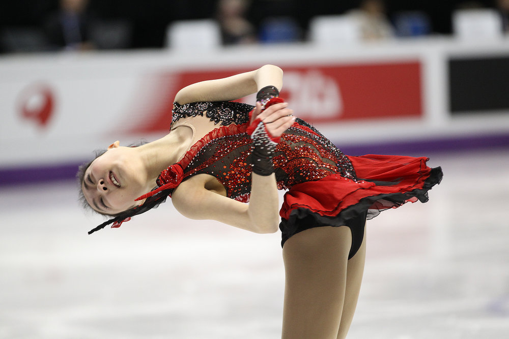 . Zijun Li of China skates her short program in the mens competition at the 2013 World Figure Skating Championships in London, Ontario, March 14, 2013.   GEOFF ROBINS/AFP/Getty Images