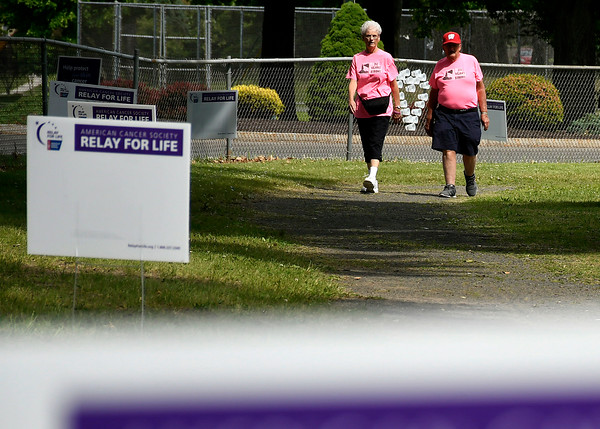 6/8/2018 Mike Orazzi | Staff Charlie and Elaine Brennan walk during the Bristol Relay for Life held on Memorial Blvd. Friday. Elaine is a 23 year cancer survivor.