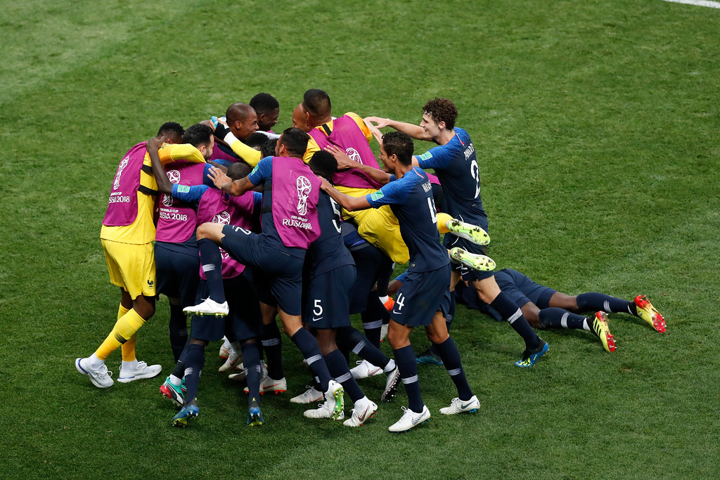 . France players celebrate after Kylian Mbappe scored their side\'s fourth goal during the final match between France and Croatia at the 2018 soccer World Cup in the Luzhniki Stadium in Moscow, Russia, Sunday, July 15, 2018. (AP Photo/Rebecca Blackwell)