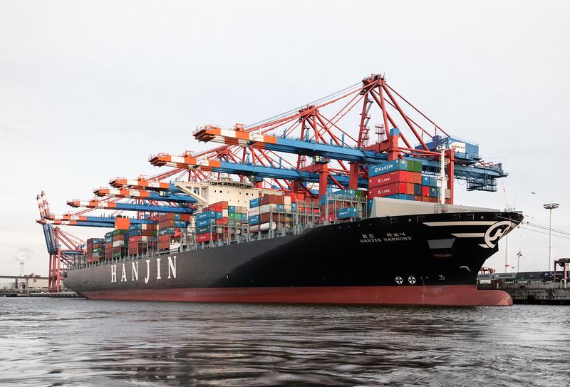 Containerschiff Hanjin Harmonie am Eurogate im Waltershofer Hafen
