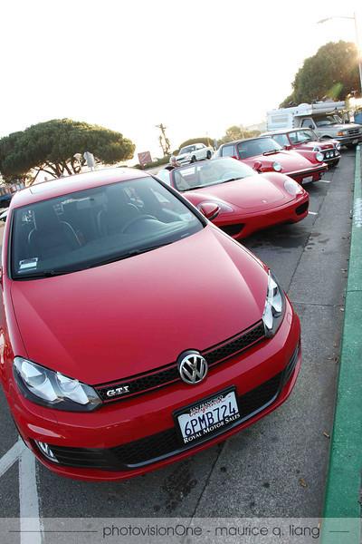 Do you see RED? A red VW GTI, Ferrari 360, Porsche 911, and a Mini.