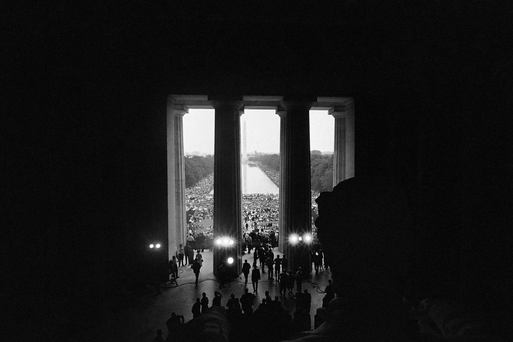. This is a view of the March on Washington crowd made from behind the statue of Abraham Lincoln in the Lincoln Memorial in Washington, August 28, 1963. In the distance is the Washington Monument and the Reflecting Pool. (AP Photo)