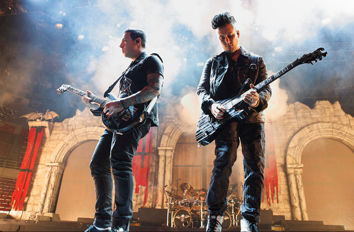 . Zacky Vengeance and Synester Gates of Avenged Sevenfold at Joe Louis Arena. Photo by Ken Settle