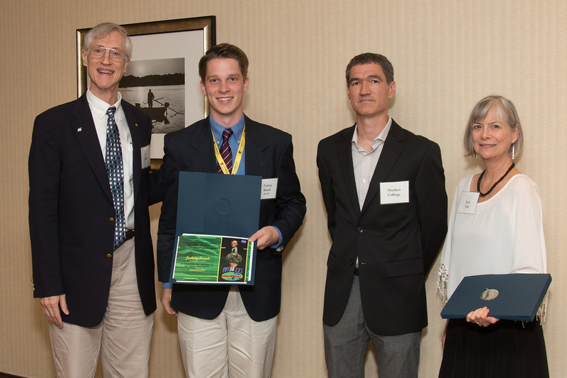 """Awardee Zachary Bruick  with John Mather, Matthew Collinge (Maryland Space Grant Consortium), and Janie Nall (GSFC) -- An award luncheon, """"Dr. John Mather Nobel Scholars Program Award"""", as part of the National Council of Space Grant Directors and the Maryland Space Grant Consortium, Greenbelt, MD July 28, 2017"""