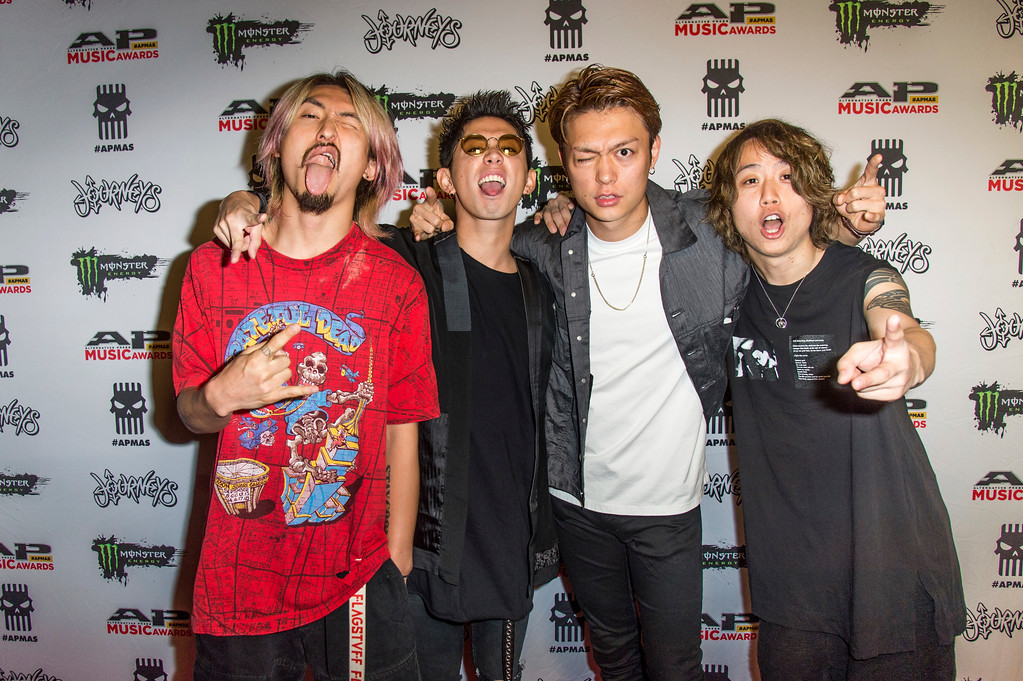 . Ryota Kohama, from left, Takahiro Moriuchi, Toru Yamashita andTomoya Kanki of ONE OK ROCK seen at 2017 Alternative Press Music Awards at the KeyBank State Theatre on Monday, July 17, 2017, in Cleveland. (Photo by Amy Harris/Invision/AP)