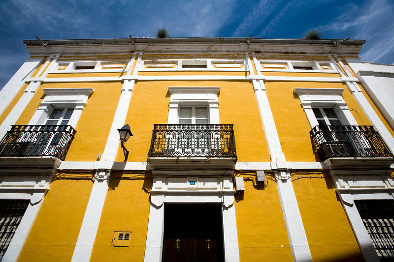 Yellow house, Alcantara, Caceres, Spain