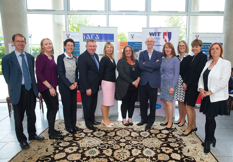 18/05/2016. Irish Accounting & Finance Accociation Annual Conference at WIT (Waterford Institute of Technology). Pictured are Sean Byrne WIT, Ruth Mattimoe DCU, Sheila O'Donohoe WIT, Joseph Coughlan NUI Maynooth, Geraldine Doyle UCD, Professor Jill Atkins, Ray Donnelly UCC, Rosmarie Kelly WIT, Elaine Doyle University of Limerick, Joan Ballantine Ulster University and Clare Kearney WIT . Picture: Patrick Browne