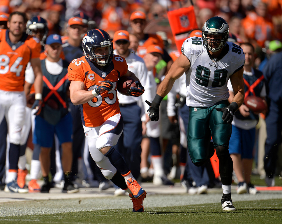 . Denver Broncos wide receiver Wes Welker (83) runs down the sidelines during the game against the Philadelphia Eagles at Sports Authority Field at Mile High Sept. 29, 2013. (Photo by Joe Amon/The Denver Post)
