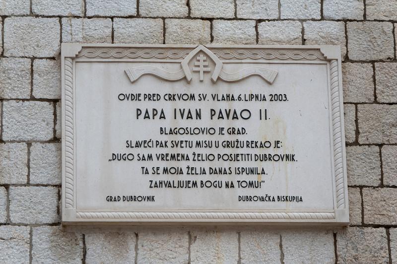 Papa Ivan Pavao Memorial in Dubrovnik, Croatia