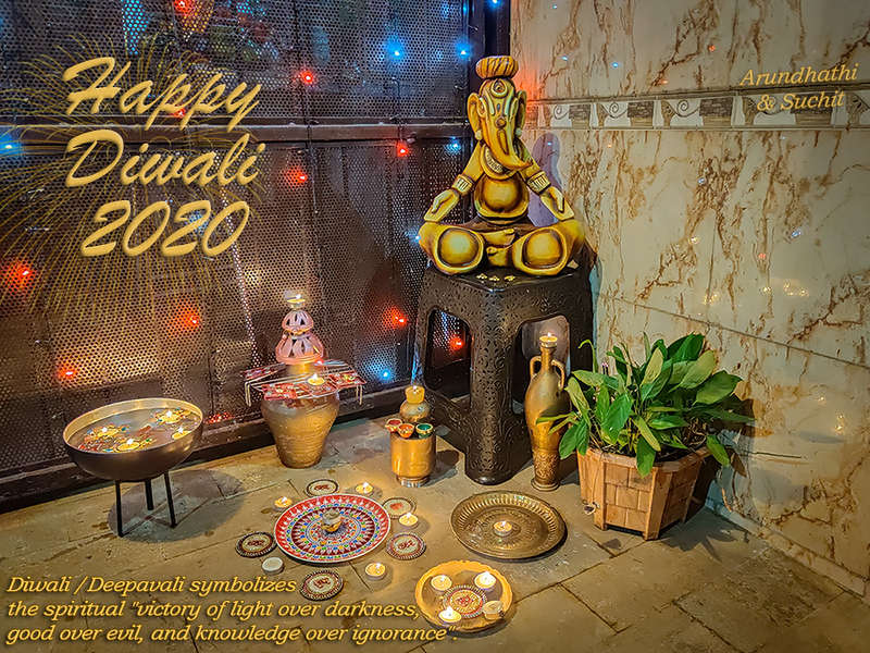 """Happy Diwali 2020 - the festival of lights!  Diwali symbolizes the spiritual """"victory of light over darkness, good over evil, and knowledge over ignorance""""."""