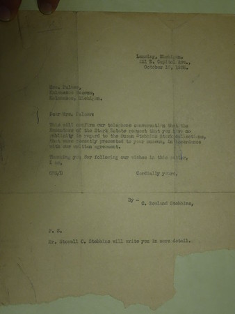 Susan Stebbins Stark Estate Correspondance