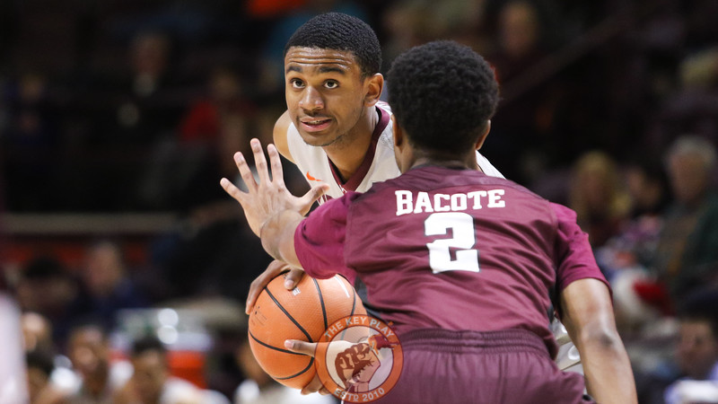 Nickeil Alexander-Walker looks up after picking up his dribble. (Mark Umansky/TheKeyPlay.com)