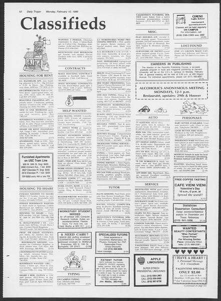 Daily Trojan, Vol. 100, No. 22, February 10, 1986