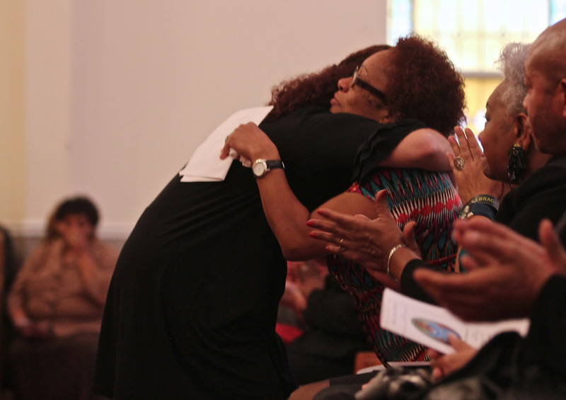 January 21, 2012 Celebration of the life of Ariane Patterson at New Bethel Ame Zion Church of Forest City, NC. Roxana Bocur hugs Ariane's mom Connie.