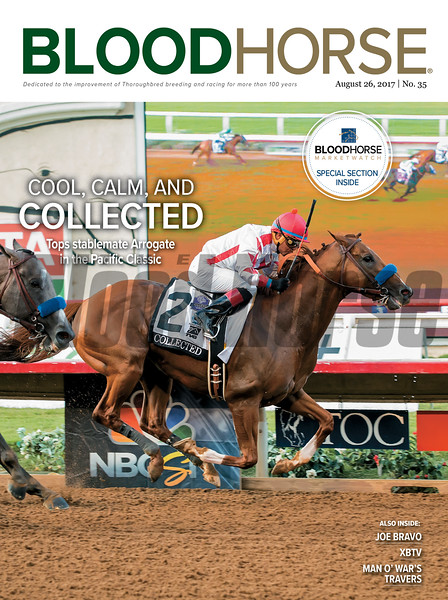 August 26, 2017 issue 35 cover of BloodHorse featuring Cool, Calm, and Collected as Tops stablemate Arrogate in the Pacific Classic, Joe Bravo, XBTV, Man o' War's Travers.