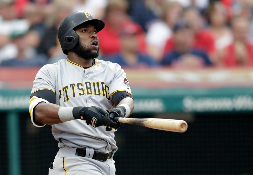 . Pittsburgh Pirates\' Gregory Polanco watches his ball after hitting a two-run home run in the second inning of a baseball game against the Cleveland Indians, Tuesday, July 24, 2018, in Cleveland. (AP Photo/Tony Dejak)