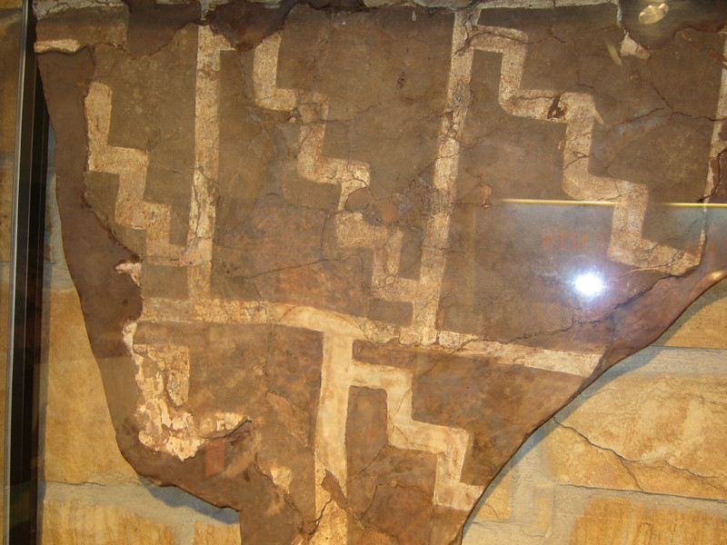 Actual section of Kiva decoration, one of two in existence. Anasazi Interpretive Center, Cortez, CO.
