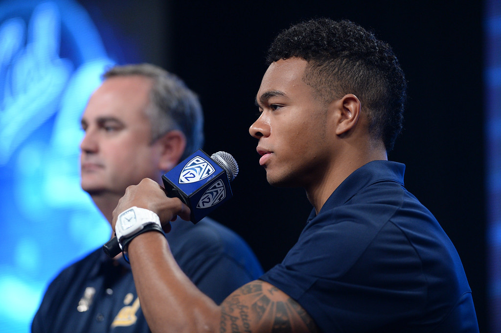 . Cal WR Bryce Treggs. Pac12 media Day at Sony Studios.  Photo by Brad Graverson 7-26-13
