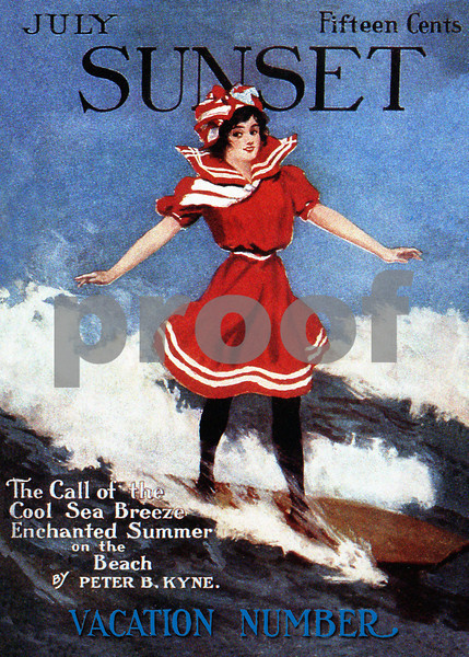 109: Sunset Magazine Magazine Cover with Surfing Girl. Ca. 1928 (PROOF watermark will not appear on your print)