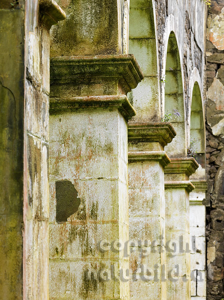 Alte Kirche, verfallen, durch das Erdbeben zerstört, Architekturdetail, Rhiberina, Faial, Azoren, Portugal