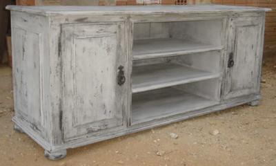 26ZM03 Credenza whte patina 2doors shelves.JPG