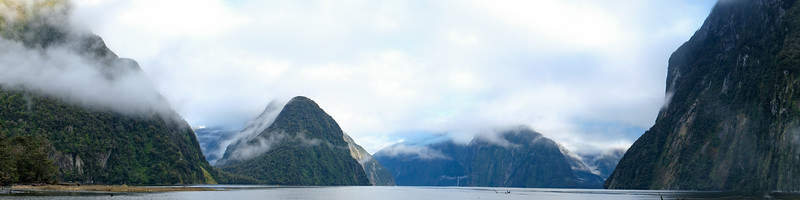 Panoramic view over Milford Sound, Fjordland, New Zealand