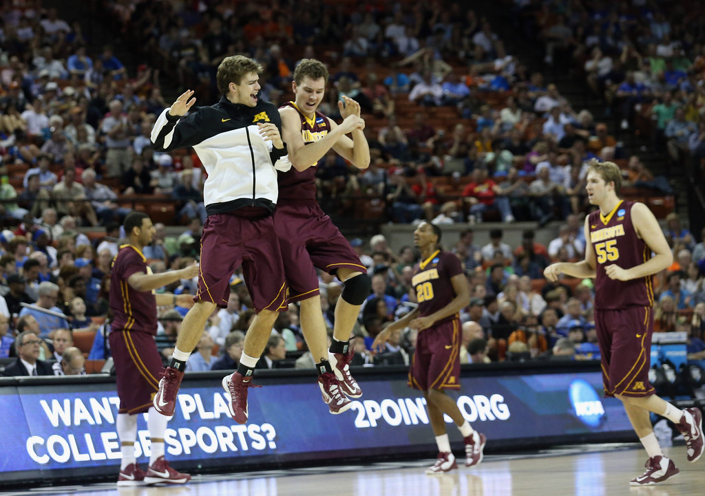 . AUSTIN, TX - MARCH 22:  the Minnesota Golden Gophers celebrate during the game against the UCLA Bruins during the second round of the 2013 NCAA Men\'s Basketball Tournament at The Frank Erwin Center on March 22, 2013 in Austin, Texas.  (Photo by Stephen Dunn/Getty Images)
