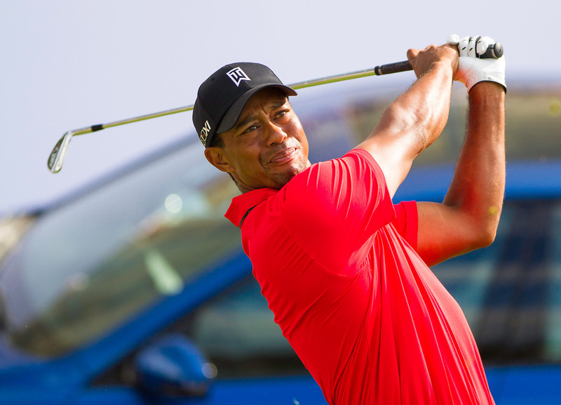 Tiger Woods hits his tee shot on 17  during the final round of the 2012 BMW Championship at Crooked Stick Golf Course in Carmel Indiana on Sunday Sept. 9, 2012 (Charles Cherney/WGA)
