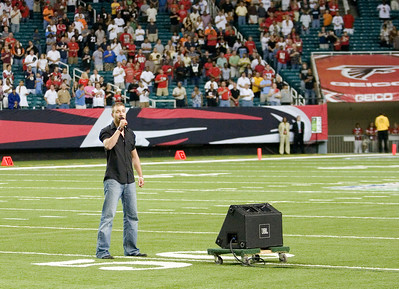 Jason Coley Sings The National Anthem At The Atlanta Falcons Game