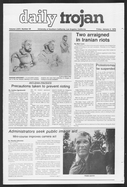 Daily Trojan, Vol. 75, No. 58, January 05, 1979