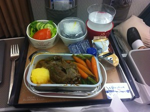 Dinner in premium economy on Cathay Pacific