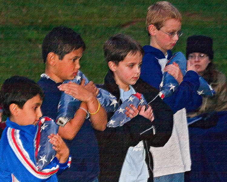 Serious love of country as Cub Scouts prepare for retirement of American flags (art effect)