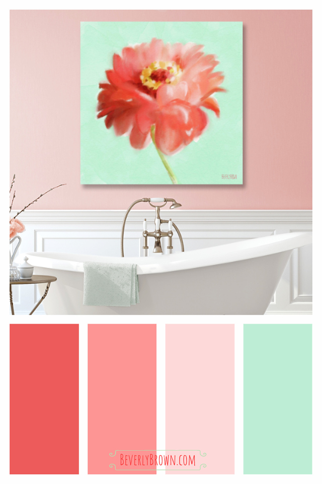 Coral, Mint Green & Peach Modern Farmhouse Style Bathroom Color Scheme
