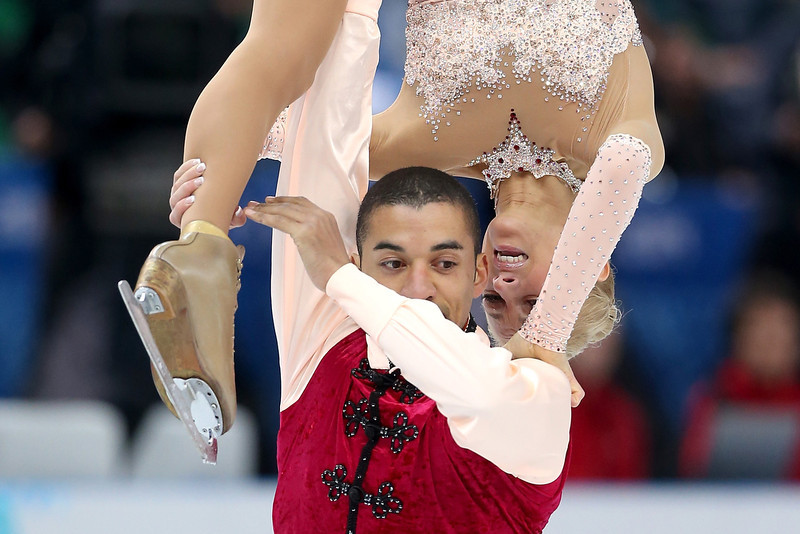 . Aliona Savchenko and Robin Szolkowy of Germany compete in the Figure Skating Pairs Free Skating during day five of the 2014 Sochi Olympics at Iceberg Skating Palace on February 12, 2014 in Sochi, Russia.  (Photo by Matthew Stockman/Getty Images)