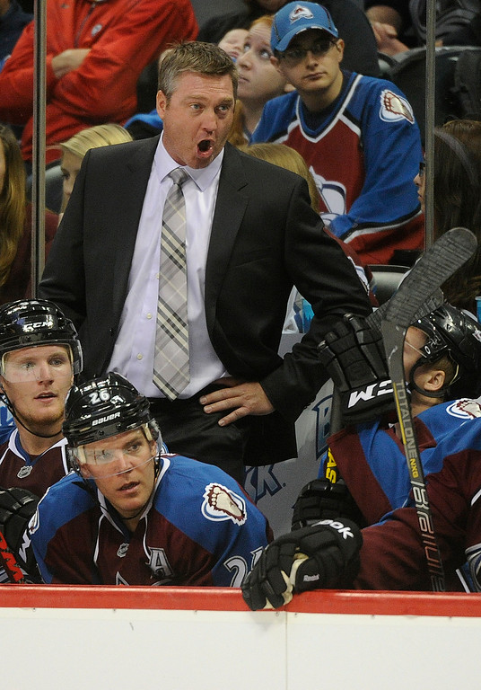 . DENVER, CO. - SEPTEMBER 18: Colorado coach Patrick Roy yelled from the bench in his first game for the Avalanche Wednesday night. The Colorado Avalanche hosted the Anaheim Ducks in a pre-season NHL game at the Pepsi Center Wednesday night, September 18, 2013.  Photo By Karl Gehring/The Denver Post