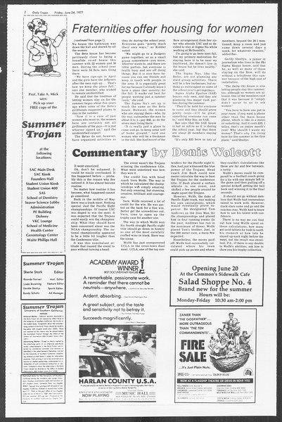 Summer Trojan, Vol. 72, No. 1, June 24, 1977