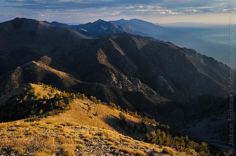 Sunrise light grazes the Toiyabe Range, Arc Dome Wilderness, Nevada, September 2013.