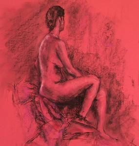 """Alluring RED"" (pastel on paper) by Carolina Dalmas"