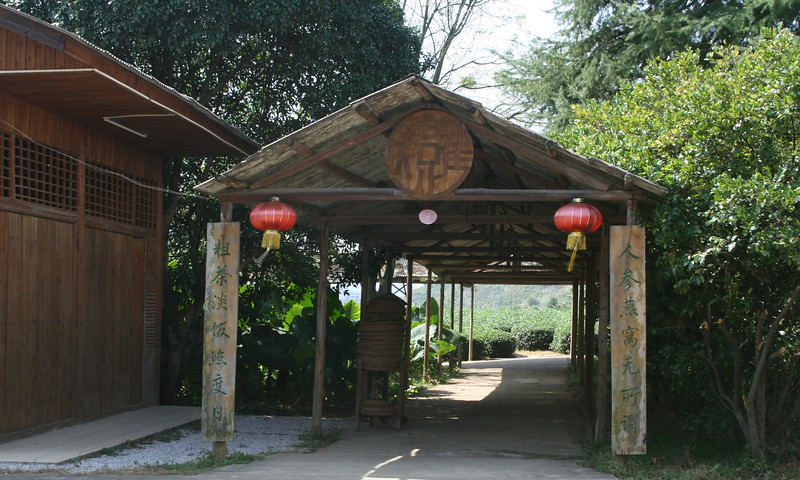 a covered bridge at a tea plantation in China