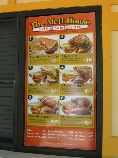 The Melt menu sign.