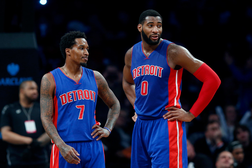 . Detroit Pistons\' Brandon Jennings (7) talks with teammate Andre Drummond (0) during a break in the fourth quarter action of an NBA basketball game Sunday, Dec. 21, 2014, in New York.  Brooklyn beat Detroit 110-105. (AP Photo/Jason DeCrow)