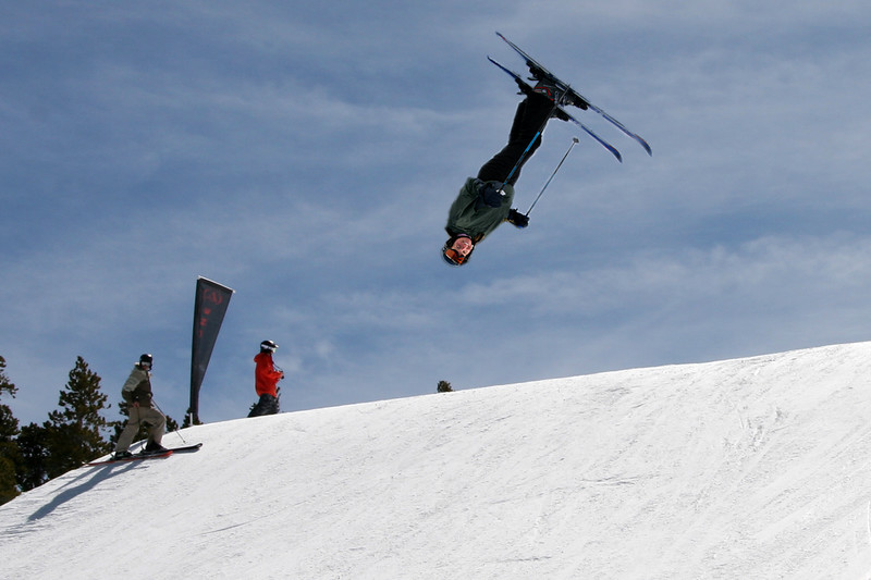Carrie takes a jump in the terrain park .... not really though.