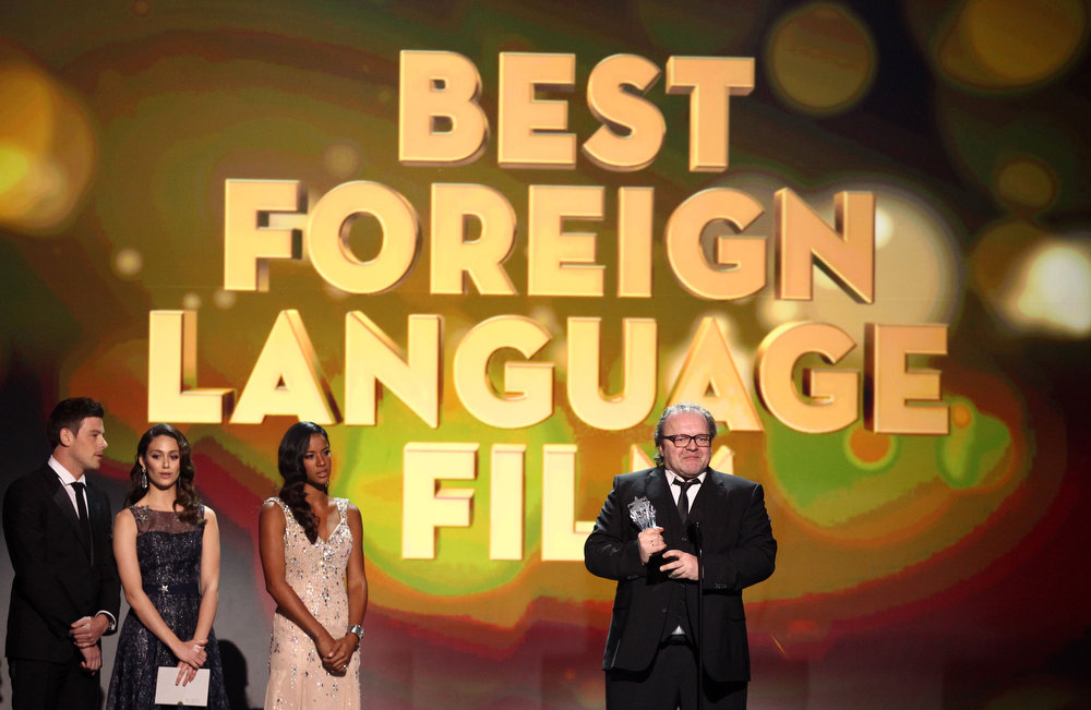 Description of . Stefan Arndt accepts the award for best foreign language film for
