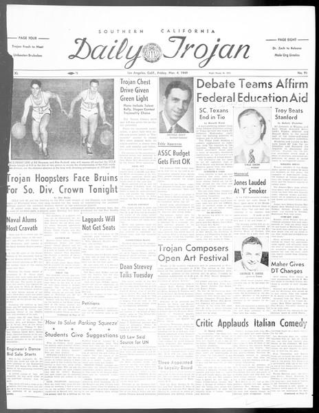 Daily Trojan, Vol. 40, No. 91, March 04, 1949
